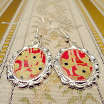 Paper earrings in metal frames with flower pattern by NellinShoppi
