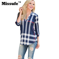 Missufe S-3XL Plus Size Autumn Blouse 2016 Casual Plaid Print Three Quarter Sleeve Shirts Streetwear Sexy V Neck Women Tops