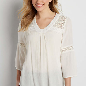 lightweight top with lace inlay and embroidery | maurices