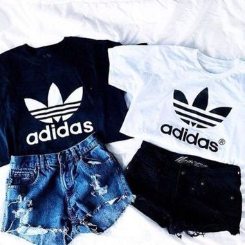 Adidas Trending Women Casual Letter Print Short Sleeve Crop Round Collar T-Shirt Top Tee Blouse I