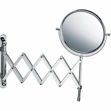 DWBA Wall Mounted 5X Cosmetic Makeup Magnifying Swivel & Extendable Mirror. Chrome