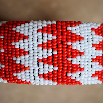 Red and White Bangle,African Beaded Cuff Bracelet,Beaded Statement Bangle,Geometric Cuff Bangle,Traditional African beadwork,Tribal Cuff