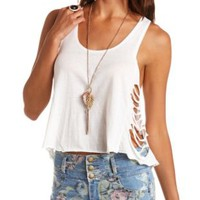 Slashed Racerback Swing Tank Top by Charlotte Russe