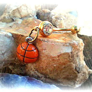 NBA Gold Basketball Belly Ring, Sport Jewelry, Navel Piercing, Body Preppy Jewelry,March Madness,College Team,Ready to Ship, Direct Checkout