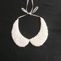 Handmade white colored pearl peterpan collar necklace