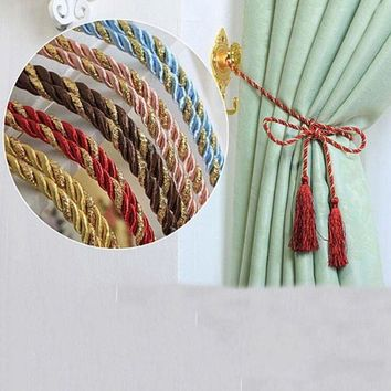 VONE059 New 1 PCS Window Cotton Rope Tie Backs Curtain Fringe Tiebacks Room Tassel Decor 8 Colors