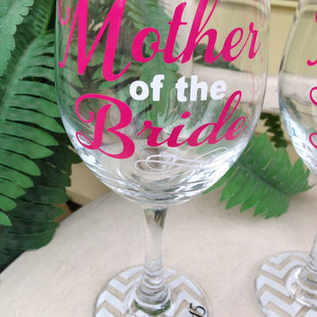 Mother of the bride, mother of the groom, wedding party glass, wine glass, personalized glasses, wedding wine glasses, MOB, MOG, wedding