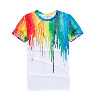 2016 New Fashion Summer men's  tshirt Paint Graffiti Art design funny tee  t shirt homme lovely top tees