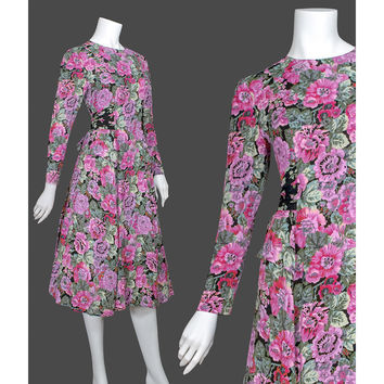 Vintage 1980s Dress - 1980s Peplum Dress - Carol Little Floral Party Dress