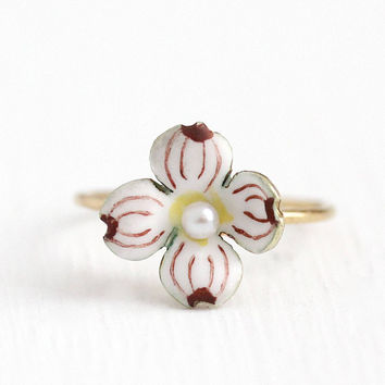 Antique 14k Yellow Gold Enamel Dogwood Ring - Vintage 1900s Edwardian Size 6 1/2 Stick Pin Conversion White and Purple Fine Rare Jewelry