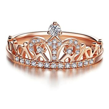 Majestic Crown Round Cut CZ Diamond Ring Rose Gold Color