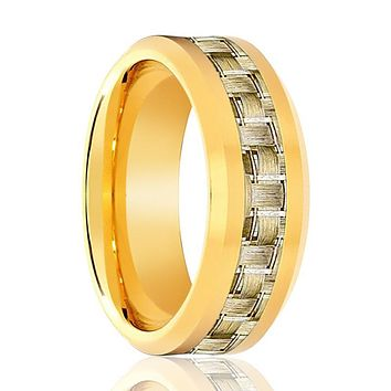 Aydins Gold Tungsten Ring High Polished Wedding Band w/ Gold Carbon Fiber Inlay 8mm Tungsten Carbide Wedding Ring
