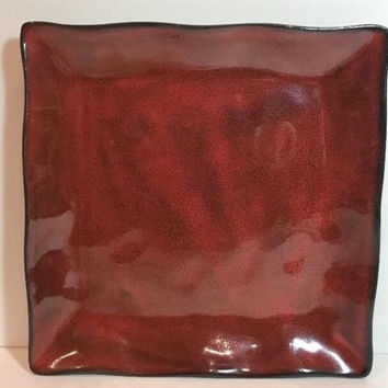 Target Home Tempest Red 4Pc. Stoneware Dinner Plates Red/Brown Scalloped Edge