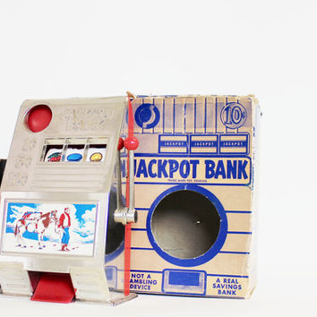 Jackpot - Vintage Bank - Kids - Cowboy - Red - Blue - Southwestern - Southwest - Collectible - Reno Plastics - Silver - Boys - Home Decor