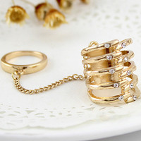Gold with Rhinestone Rib Ring