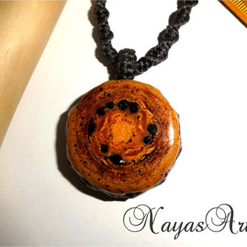 Galaxy pendant necklace, natural pine cone jewelry. Handmade pendant, handmade macrame, unique OOAK pendant necklace. Pinecone black galaxy.