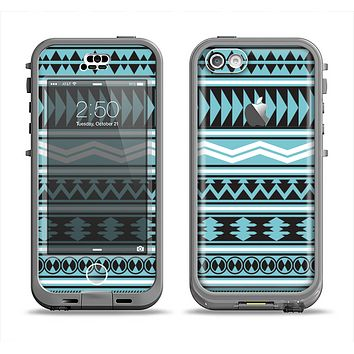 The Vector Blue & Black Aztec Pattern V2 Apple iPhone 5c LifeProof Nuud Case Skin Set