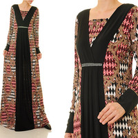 Pleated Diamente Ethnic Print Jersey Abaya Long Sleeves Maxi Dress - Size S/M/L or Plus Size 1X/2X (6340/2998)