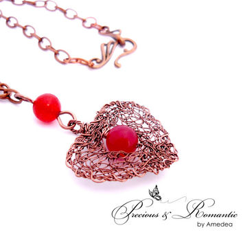Ruby Jade heart necklace - wire crochet pendant - gemstone jewerly - jade pendant - wire crochet necklace - antique copper wire necklace
