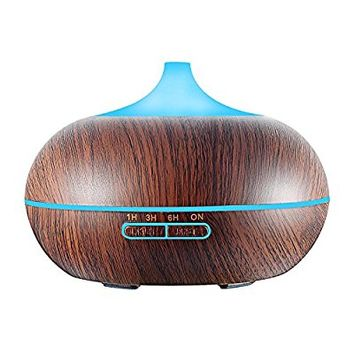 Ultrasonic Essential Oil Diffuser for Aromatherapy, GerTong 300ml Cool Mist Air Humidifier Purifier with 7 Color LED Lights Changing and Waterless Auto Shut-off (Dark Wood Grain)