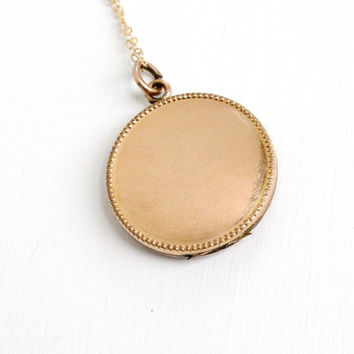 Antique Round 10k Gold Filled Blank Locket Necklace -Early 1900s Edwardian Art Deco Jewelry Hallmarked J.M.F. Co.