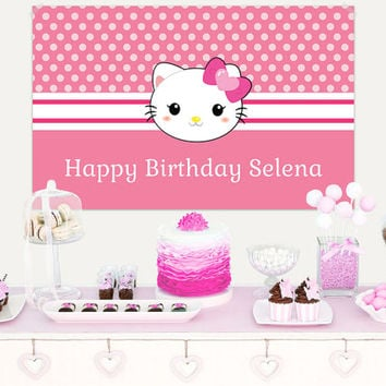 Sweet Kitty Birthday Vinyl Banner / Sweet Kitty Birthday Backdrop / Hello Kitty Birthday Vinyl Backdrop / Hello Kitty Party Banner
