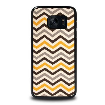 YELLOW BROWN CHEVRON Pattern Samsung Galaxy S7 Edge Case Cover