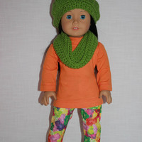 18 inch doll clothes, orange long sleeve tunic style shirt, gummy bear print leggings, crochet slouch beanie, infinity scarf