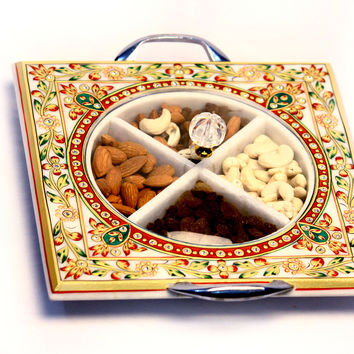Aakashi Red Gold Dry Fruit Bowl Tray