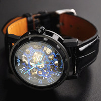 Man Watch Steampunk Mechanical Black (WAT0081-BLACK)