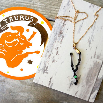 Taurus Zodiac Emerald Gemstone Necklace