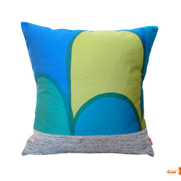 Mid Century Print Color Block Multicolor Throw Pillow