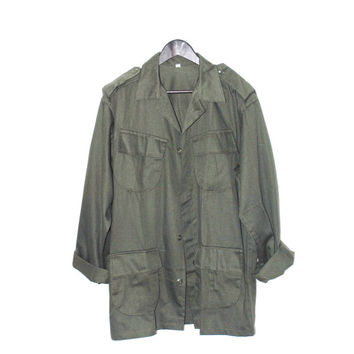 military field jacket 80s vintage olive green army jacket unisex oversized military coat os