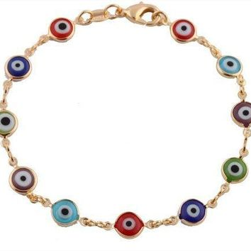 Gold Overlay with Colorful Mini Evil Eye Style 75 Inch Clasp Bracelet T42