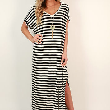 Beachy Keen Stripe T-shirt Maxi in Black