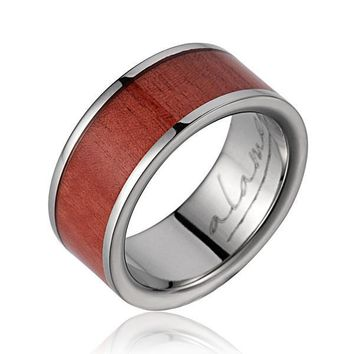 GENUINE INLAY PINK WOOD WEDDING BAND RING TITANIUM 8MM SIZE 5-14