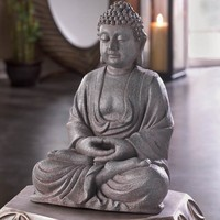 Intricate Meditating Buddha Statue Decorative Accent