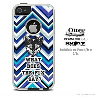What Does The Fox Say Navy Blue Chevron Skin For The iPhone 4-4s or 5-5s Otterbox Commuter Case
