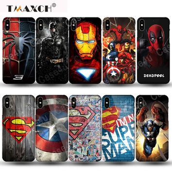 Marvel Avengers Superheroes Captain America Shield Hard PC Case for iphone X 6 6s 7 8 Plus 5 5s SE Spiderman Batman Iron Man