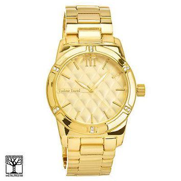Jewelry Kay style Men's Bling 14k Gold Plated Iced Out Fashion Metal Heavy Band Watch WM 1286 G