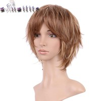 S-noilite Hair Short Black Blonde Mix Wig Natural Straight Synthetic Wigs For Black Women Heat Resistant Female Hair Pieces