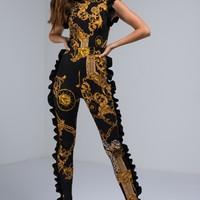 Baroque Print Jumpsuit with Mock Neck Collar and Side Ruffle Trim in Black, Gold