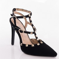 Glaze School Of Rock Studded Strappy Faux Suede Pumps - Black
