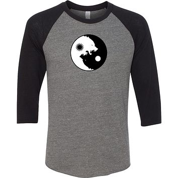 Yoga Clothing For You Yin Yang Wolves Eco Raglan 3/4 Sleeve Yoga Tee Shirt