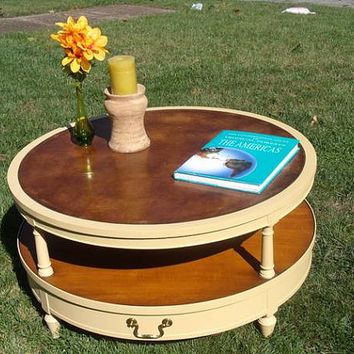 SOLD - Vintage Round, Leather Top, 2 Tier Coffee Table - Painted, Waxed