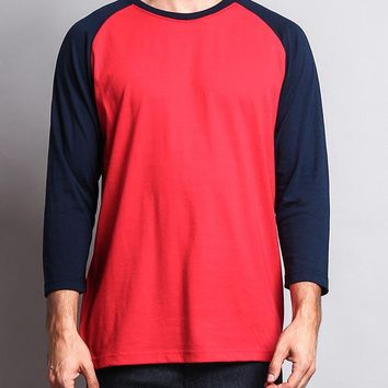 Men's Baseball T-Shirt TS900 (Red/Navy) - B12C