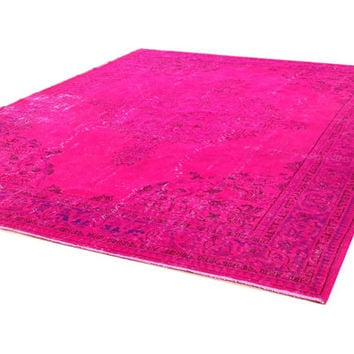 "9'10"" x 7'3""   300 X  220 CM -  Vintage hot Pink fuchsia pink  blue Overdyed Recolored chicethnic handmade rug CARPET"