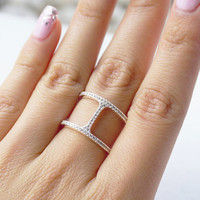 Silver or Gold Tone Pave Crystals Double Bar Ring
