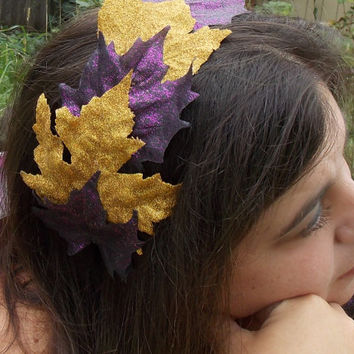 Glittery Fall Maple Leaf Crown Headband in Black, Gold, and Purple for Autumn or Halloween