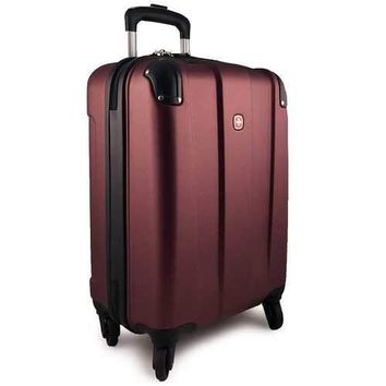 SWISSGEAR Protector 20 Inch Hard Side 4-Wheeled Carry-On Luggage - Oxblood Red